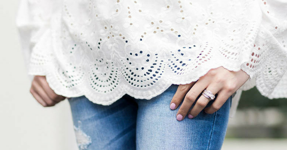 What I'm Wearing: Lace-Up Top with Eyelet Bell Sleeves & Distressed Denim from Ruthie Grace Boutique