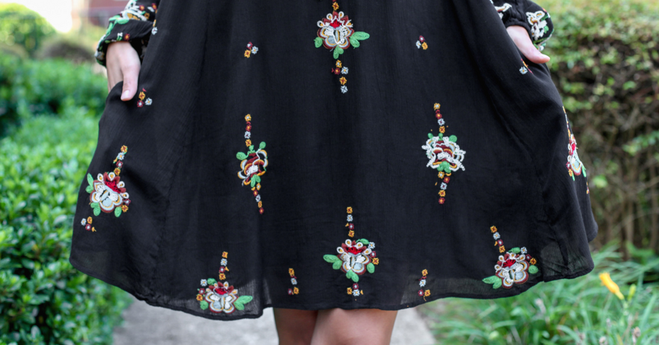What I'm Wearing: Boho Swing Dress & Perforated Open Toe Booties