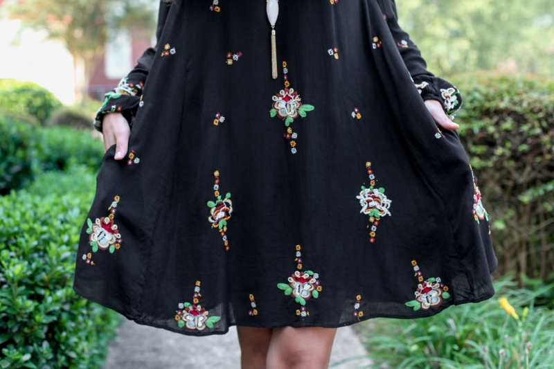 Boho Free People Oxford Swing Dress with Perforated Open Toe Booties