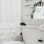 White and Bronze Bathroom Makeover; Farm Sink